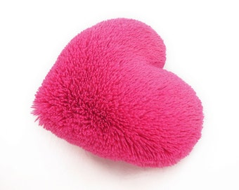 Fluffy Hot Pink Valentine Heart Shaped Decorative Pillow - Small Size