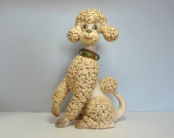 Vintage 70s ceramic French poodle dog, large size, hand made, collar with green crystals, signed from Grams, Paris chic