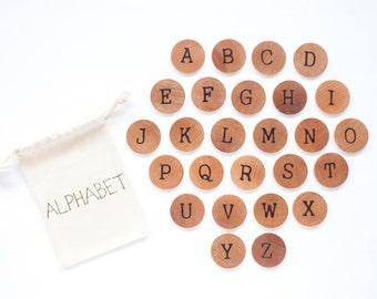 Wood Alphabet Discs / Uppercase Alphabet / Alphabet Flash Cards / Montessori Alphabet / Homeschool Preschool Kindergarten Spelling