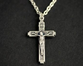 Basic Crucifix Necklace. Catholic Necklace. Charm Necklace. INRI Necklace. Silver Necklace. Catholic Jewelry. Christian Jewelry.