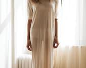 Bridal Silk Knit T Shirt Nightgown Sheer Light Honeymoon Wedding Lingerie Sleepwear Silk Knit Lingerie Ivory Silk Nightgown