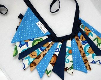 Mini Fabric Bunting - Monkey Jungle Theme Bunting - Photo Prop, Party Decor, Fabric Garland, Nursery Decor