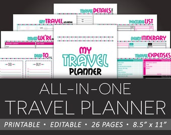 Travel Planning Printable - Editable Vacation Planner INSTANT DOWNLOAD PDF - 8.5 x 11 Details Packing List Expenses To-Do Itinerary Journal