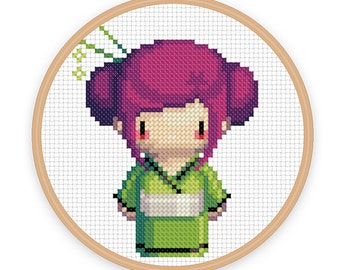 GEISHA GIRL NIKO: a pixel art counted cross stitch pattern - digital download - printable pdf file