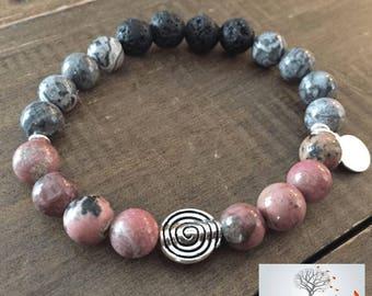 "Natural Stone Elastic Bracelet - ""Crazy Love"" (Crazy Lace Agate, Rhodonite, and Lava Rock)"