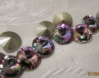 12mm, Swarovski, Art 1122, Faceted Crystal Rivoli, Vitrail Light, Foiled - Available in 2, 4, 6 & 10 Stone Pkgs and also in Larger Pkgs