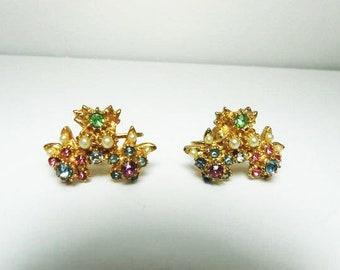Vintage Pastel Rhinestone Earrings With White Seed Pearls  Rich Gold Tone Floral Screw Back Earrings  Vintage
