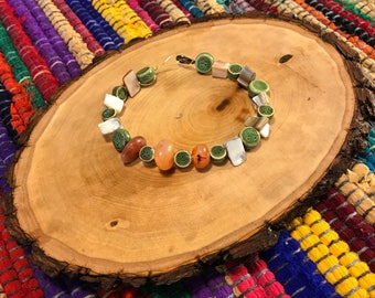 Beaded Bracelet with Carnelian, Mother of Pearl, and clay beads