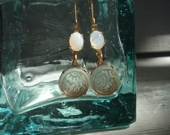 1920's Art Deco Vintage Frosted Camphor Lalique-Inspired Etched Glass and White Opal Earrings Flowers Floral