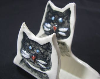 Cat card holder etsy ceramic business cards holder cat card holder fun for your desk cat lovers colourmoves Choice Image