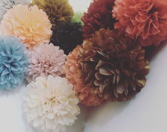 paper pom poms / 10 CUSTOM COLORS aisle marker arch arbor wedding ceremony decorations paper flowers baby bridal shower pie candy bar buffet