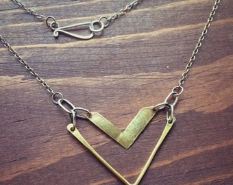 Brass Necklace w/ Sterling Silver Chain