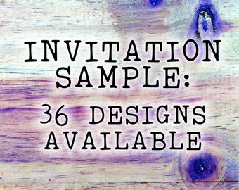 Rustic Wedding invitation, rustic floral design.  Laser Etched Wooden Invitation. A6 size - sample only