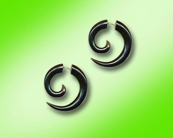 Fake Gauge Earrings, Small Spiral, Black Horn, Fake Gauge Earrings, Tribal Earrings, Tribal Earrings Organic, Plugs, BOHO, Cheaters - H26
