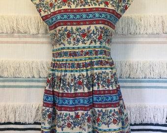 Handmade mini dress floral border print cotton linen tulle lining 50s style
