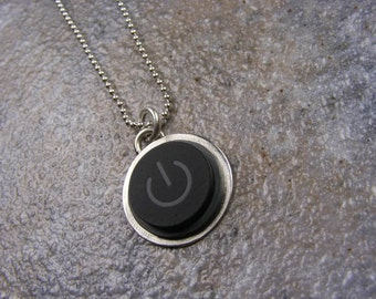 Power Up - Sterling Silver Handmade Recycled MAC Power Button Necklace