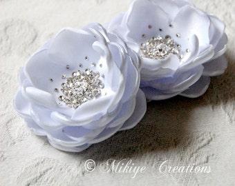 Wedding Hair Flowers, Wedding Hair Piece, Bridal Headpiece, Bridal Wedding Silk Hair Flower Accessory 2 Piece Set - White Petals