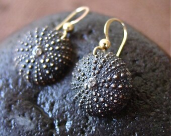 Baby Sea Urchin Earrings- dark