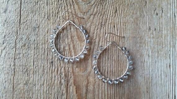 Rutilated quartz sterling silver wire wrapped teardrop earrings