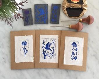 Pack of 3 Greeting Cards, Handmade, Linocut, Hand Printed, Floral, Bird, Blank Card, 3 PACK HANDPRINTED CARDS