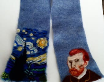 Felted Vangogh and the starry night scarf