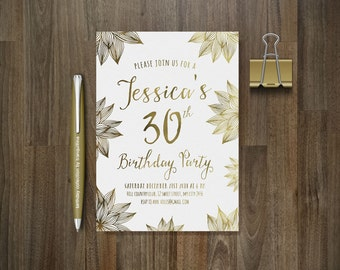 Gold Birthday Invitation Printable, Floral Birthday Invitation, Adult Birthday Invitation, Women Birthday invitation, Surprise Birthday