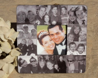 Anniversary Collage Picture Frame, Custom Wedding Gift, Personalized Engagement Frame, Family Photo Collage, Unique Valentine's Day Gift