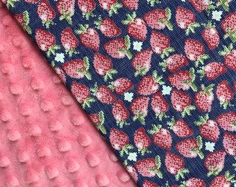 Baby Girl Blanket, Strawberry Blanket, Aqua or Blue Blanket, Personalized Baby Blanket, Baby Girl Gift
