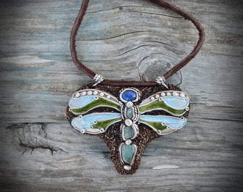 Opal Dragonfly Necklace Neon Blue Apatite Pendant