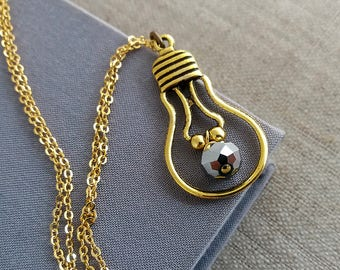 Gold Light Bulb Necklace. Antique Gold Bulb Pendant. Edison Bulb. Nerd Jewelry. Lightbulb. Gold Necklace. Long Necklace. Layering Layered