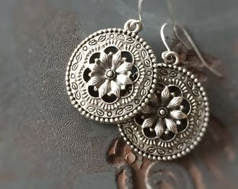 Ceylon Antique Silver Floral Filigree Round Disk Earrings on Steel Ear Wires