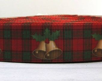 """2 Yards 7/8"""" Christmas Holiday Red & Black Plaid with Gold Bells Print Grosgrain Ribbon"""