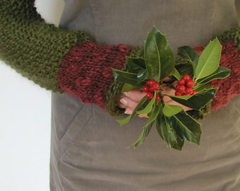 Instant Download PDF Knitting Pattern Holly Berry Shrug