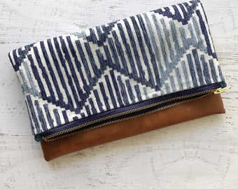 Stitched Blue & Brown Faux Leather Foldover Clutch - Gift for her, Birthday, Anniversary, Bridesmaid