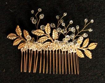 Wedding Headpiece, Gold Leaf Headpiece, Woodland, Grecian Hairpiece, Bridal Back Headpiece,Wedding Hair Vine,Leaf Halo,Bridal Crown