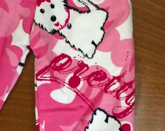 Doll Hot Pink Puppy Dog PJ pants flannel girl doll pants, Doll clothes 18 inch doll pants, White puppy doll pants American doll pajama pants