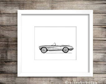 Car Poster Car Print Corvette Decor Garage Art Car Enthusiast Corvette Chevrolet Print Corvette Art Corvette Wall Art Chevrolet Decor