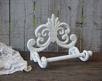 Bath Tissue Holder, Shabby Chic, White, Hand Painted, Cast Iron, Metal, Distressed, Toilet Paper Holder, French Decor, Bathroom Decor