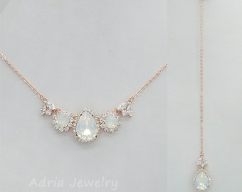 Rose Gold Back Drop Necklace, Back Drop Necklace, White Opal Bridal Necklace, Back Drop Necklace Wedding, Back Drop Bridal Necklace