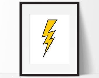 Lightning Print, Lightning Bolt Print, Lightning Bolt, Lightning Poster, Boys Room, Boys Nursery, Superhero Print, Instant Download