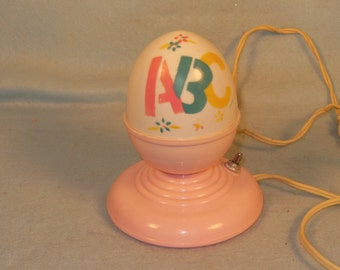 Vintage-1950s-A B C-Pink Plastic-Nursery Night Light-Works Great-So Cute