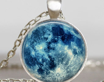 Blue moon necklace, full moon jewelry, moon pendant, lunar pendant, moon jewelry , space pendant