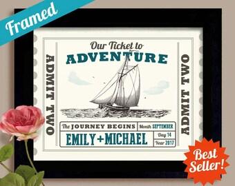 Nautical Wedding Gift Decor, Sail Boat Couple Loves Sailing Framed Art Print Honeymoon Cruise Wedding Gift Engagement Gift Newlyweds Gift
