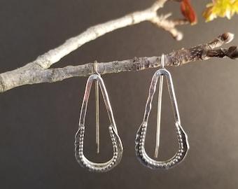 Beaded Teardrop Silver Earrings