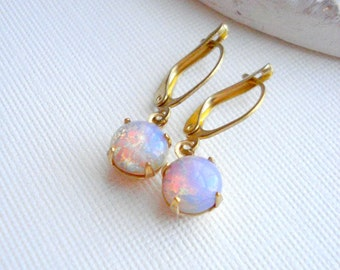 Vintage Fire Opal Earrings Opal Earrings Harlequin Drop Earrings Pink Opal Earrings October Birthstone Earrings