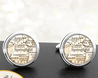 Map Cufflinks Springfield MA Cuff Links State of Massachusetts for Groomsmen Wedding Party Fathers Dads Men