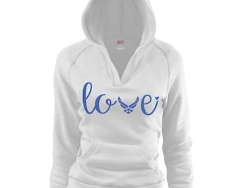 USAF Love V Hoodie. Air Force Airman military. Milso wife girlfriend fiance mom sister. Homecoming deployment. America Patriotic Milso