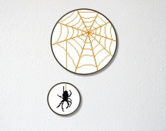 Counted Cross stitch Pattern PDF. Instant download. Spider dangling from its web. Includes easy beginner instructions.