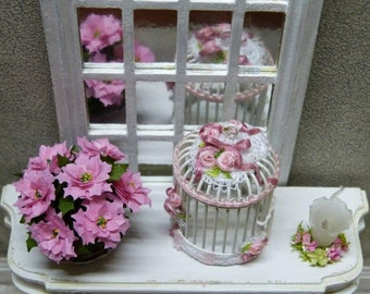 Poinsettia pink Miniature potted green plant - 1/12 scale - accessory of doll Miniature home decor