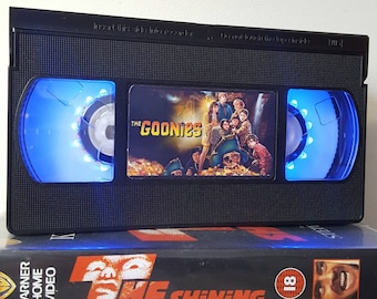 Retro VHS Lamp The Goonies Night Light Table Lamp, Horror Movie . Order any movie! Great personal gift. Man Cave. Office. Mothers Day